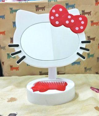 Y. T現貨實拍 kitty 造型化妝鏡 帶梳鏡