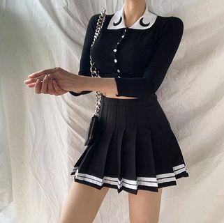 【黑殿】日系學院風黑色百褶裙 白色橫條紋水手風百褶裙 JK風制服百褶裙 甜美穿搭日系穿搭 森女系百褶裙 ZG221