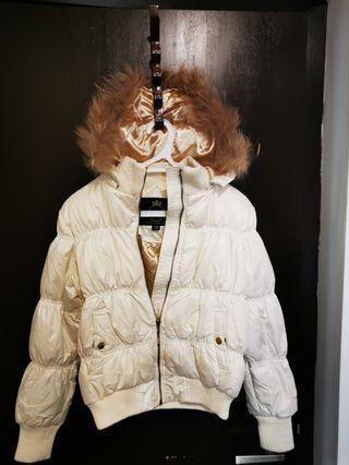 White winter puffy jacket fur hood