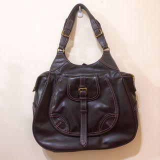 近全新轉賣 正品 英國品牌 billy bag london 深紫色全真皮肩背包 側背包 方包 手提包 花卉內裡