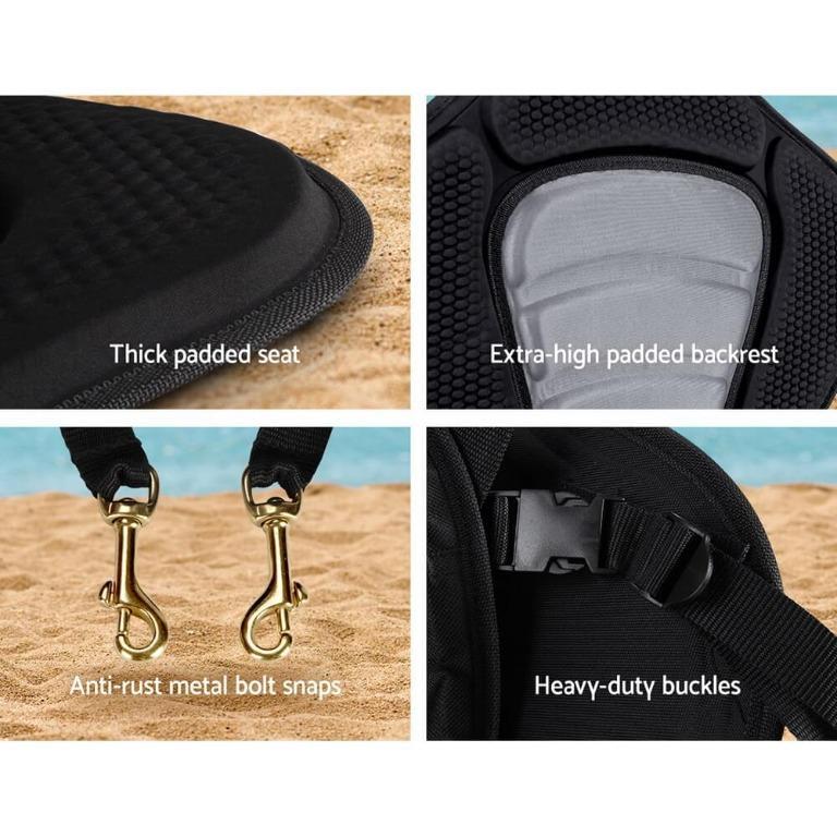 2 X Premium Adjustable Padded Kayak Seat Detachable Back Bag Canoe Backrest