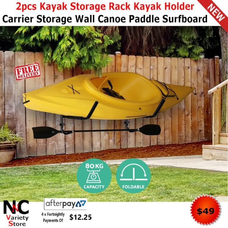 2pcs Kayak Storage Rack Kayak Holder Carrier Storage Wall Canoe Paddle Surfboard