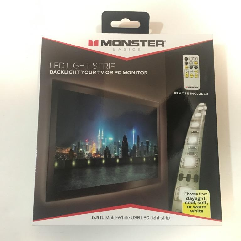 6.5ft Multi-White USB LED Light Strip With Remote Control