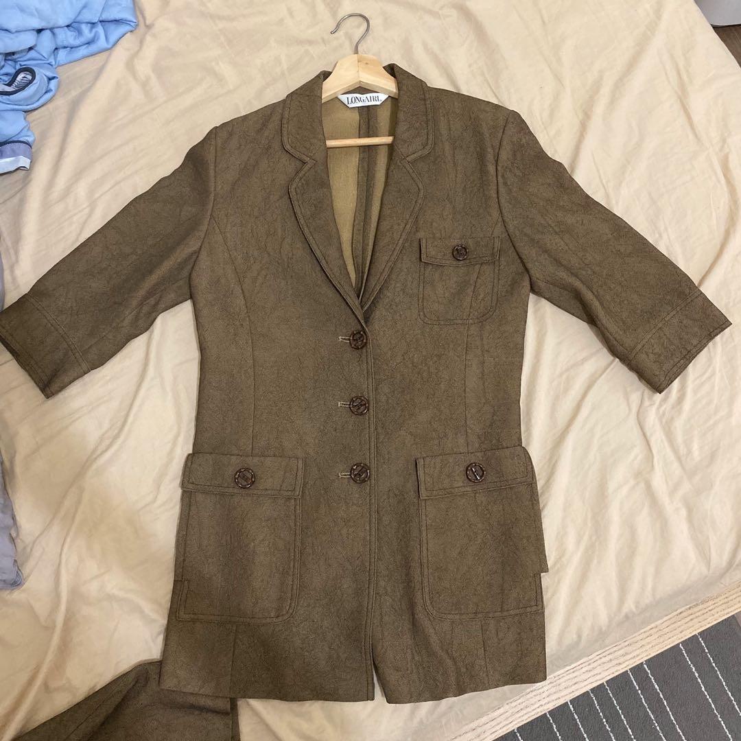 專櫃 咖色套裝(外套+長褲)