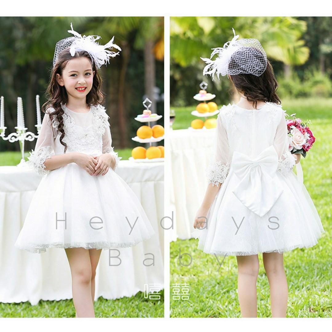 花女中袖立體花質感喱士紗裙白色 面試表演浸禮生日會公主裝 White flower girl dress princess gown