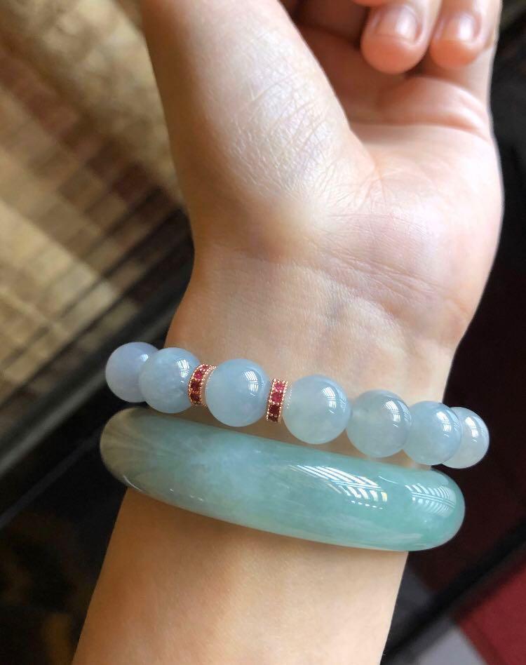 天然緬甸玉A貨翡翠 冰種藍紫玉珠 手鏈 大顆珠
