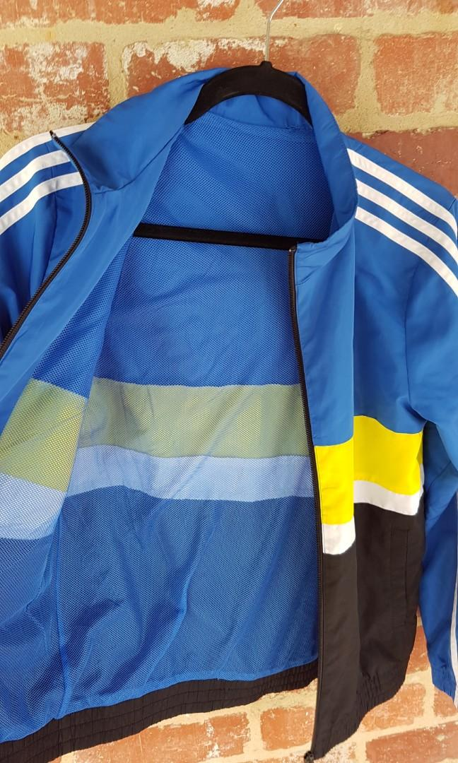 Adidas Windbreaker Jacket XS Womens Blue Yellow & Black