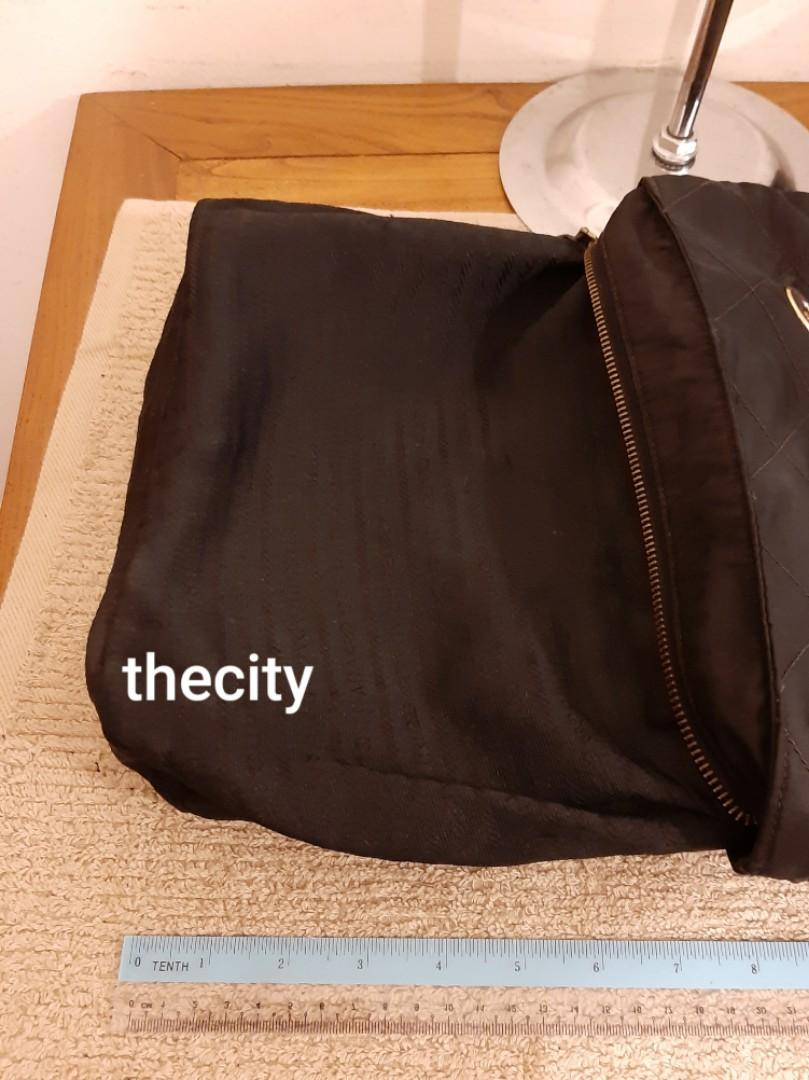 AUTHENTIC PRADA MEDIUM CHAIN SHOULDER BAG- BLACK NYLON CANVAS - GOLD HARDWARE -  OVERALL OK - CLASSIC TIMELESS VINTAGE, SO NOT FOR FUSSY BUYERS - WATERPROOF NYLON EASY TO CLEAN - (PRADA CHAIN SHOULDER BAGS NOW RETAIL OVER RM 5000+)