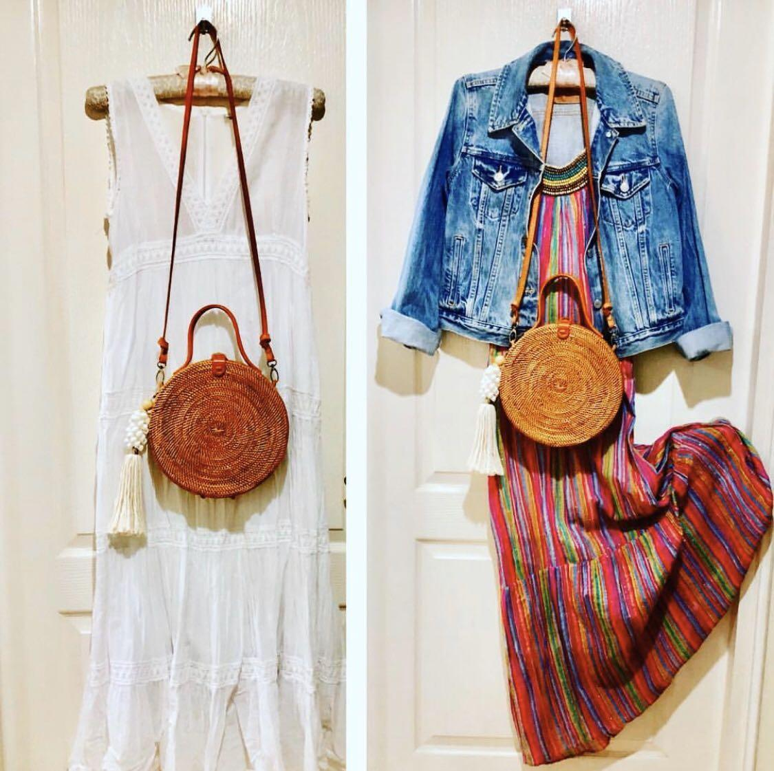 Bali Round Rattan Crossbody with Leather Strap & lined with Batik! (Black & Tan)