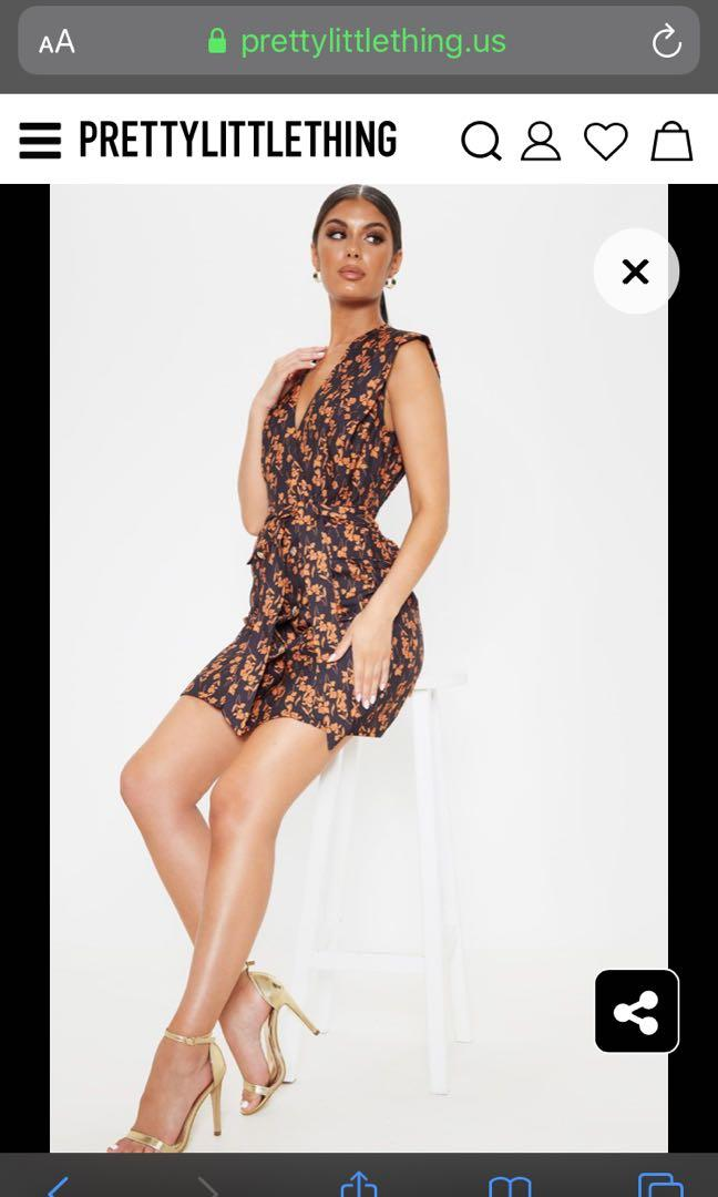 BNWT Pretty Little Thing Black & Orange Blazer Dress Size 2