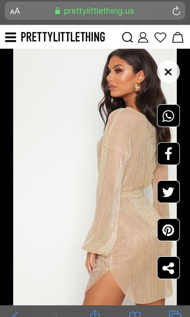BNWT Pretty Little Thing Gold Balloon Sleeve Dress Size 2