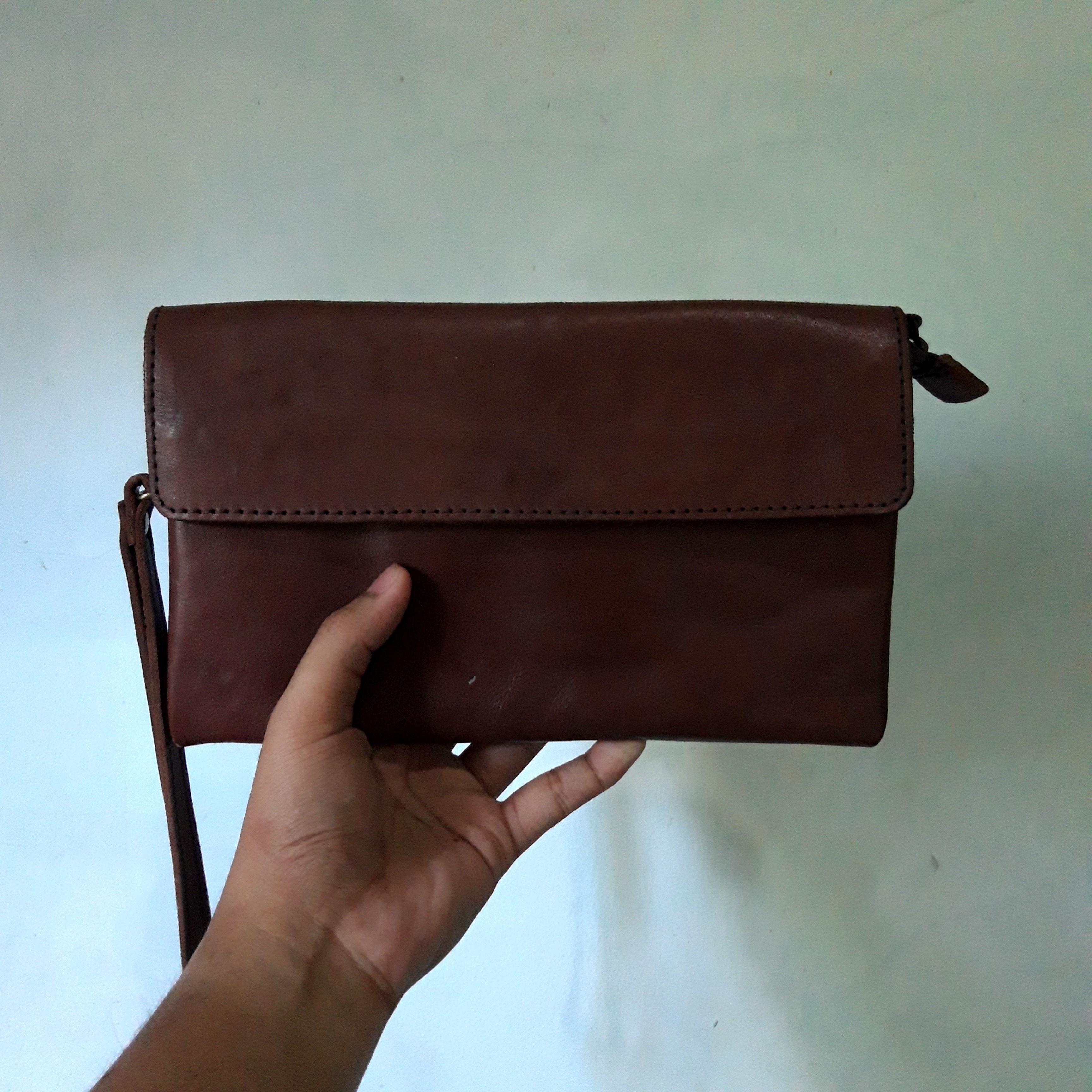 BROWN CLUTCH LEATHER BAG PRIA (Clutch Bag Kulit) #1111special