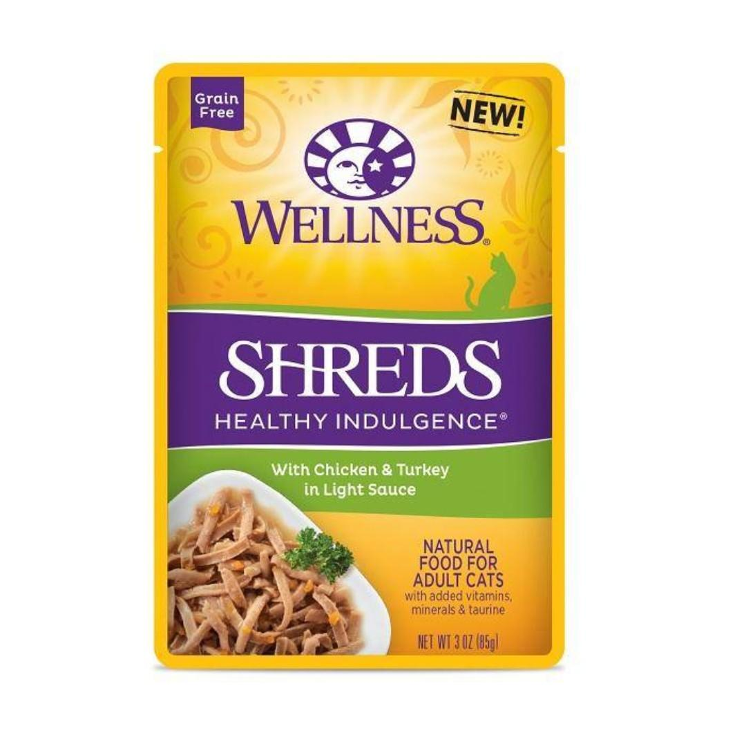 Clearance !! Wellness Shreds Healthy Indulgence® With Chicken & Turkey In Light Sauce For Cat-(C100-7109-CL)