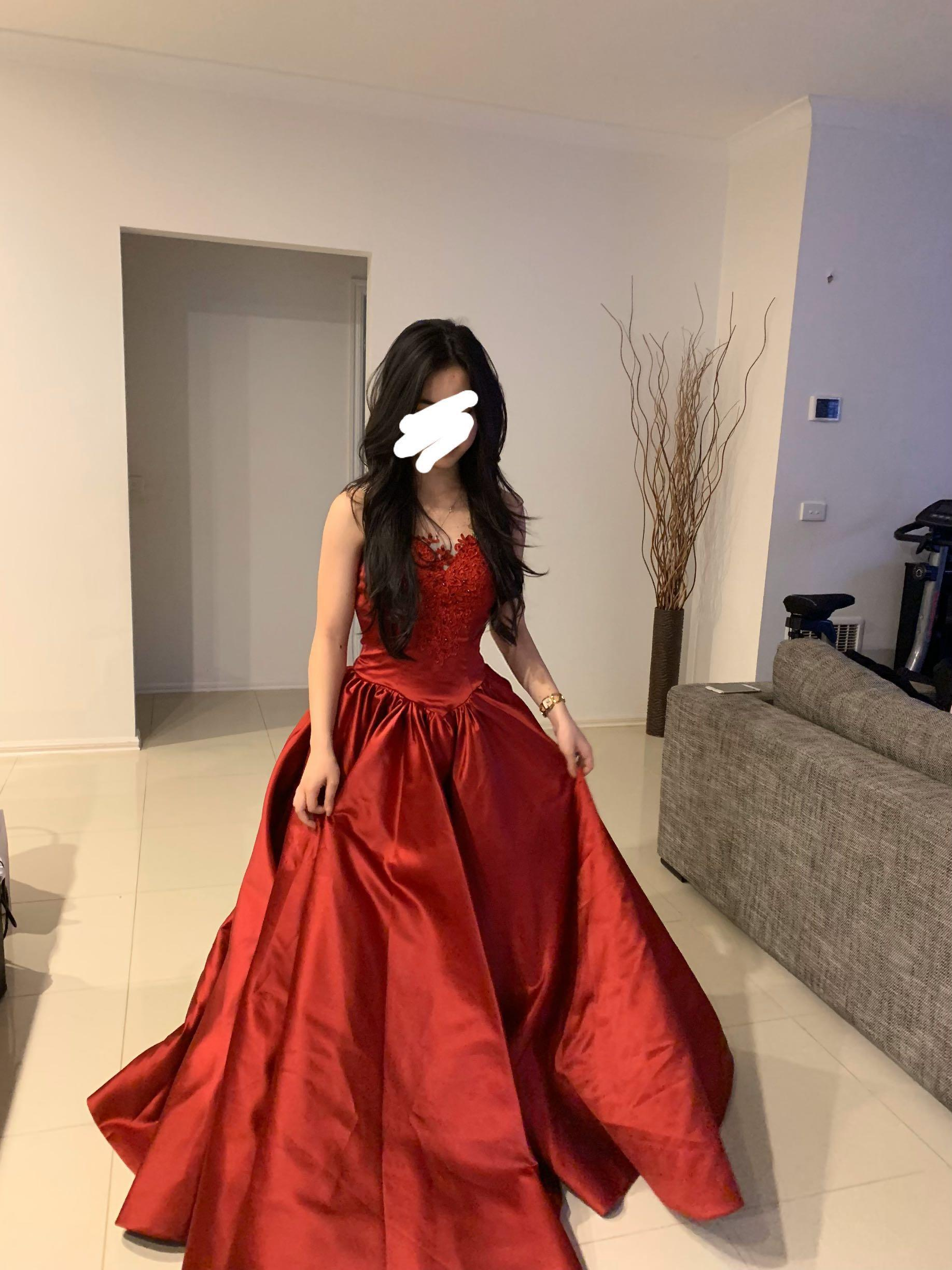Crimson matte satin, red lace a-line ball gown/ formal dress