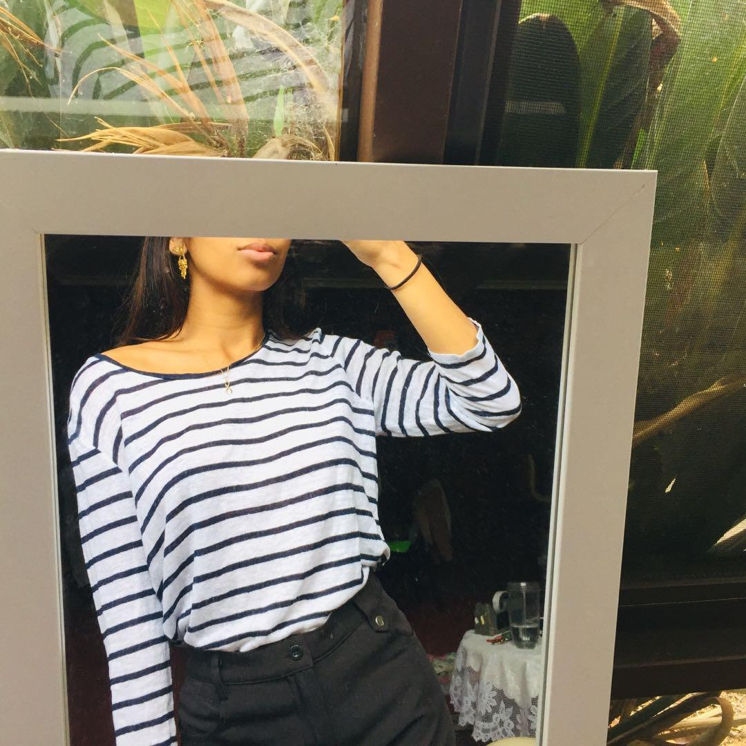 DAVID LAWRENCE vintage navy and white striped long sleeve top