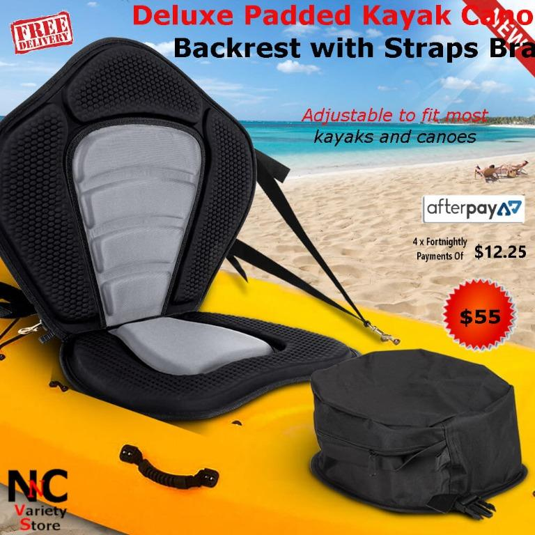Deluxe Padded Kayak Canoe Seat Adjustable Backrest with Straps Brass Snap Hooks