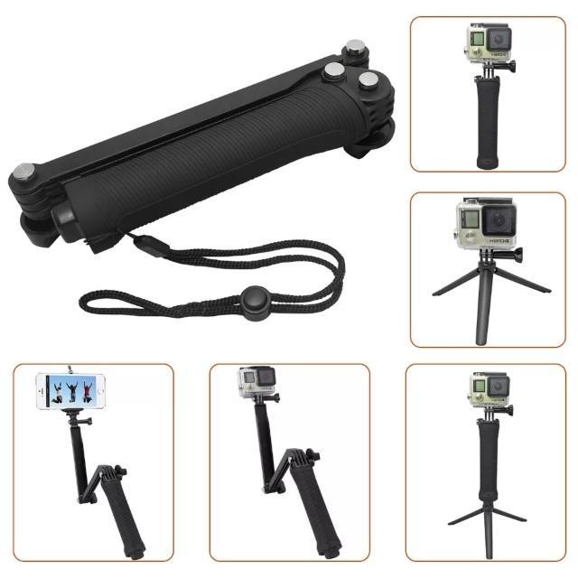 Foldable 3 Way Pole For Gopro 3 4 5 6 7 8 Hero 2018 Yi Sjcam Xiaomi Sony DJI Osmo Action Camera