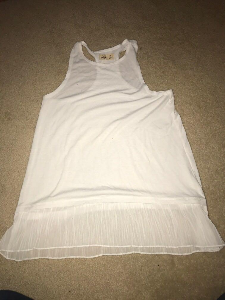 Hollister white tank with chiffon detail at bottom