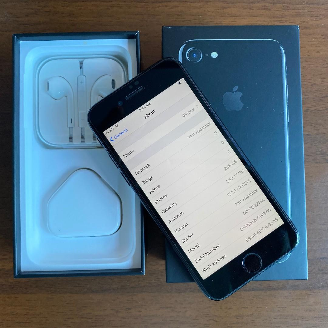 iPhone 7, Jet Black, 256GB