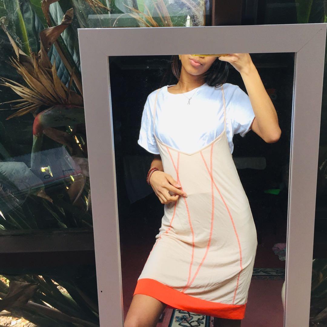 IXIAH THE LABEL cream and fluro contrast stitch slip dress
