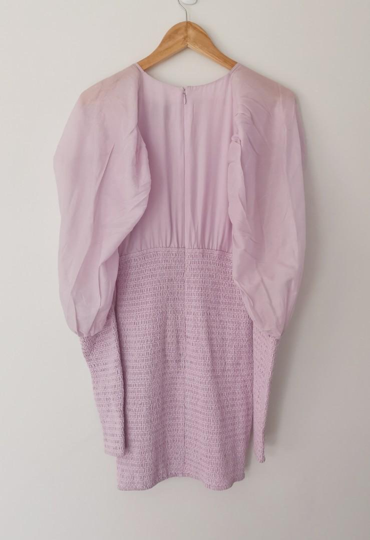 Joslin Mathilde Silk/Cotton Shirred Mini Dress in Lilac - Size 10 BNWT RRP $429