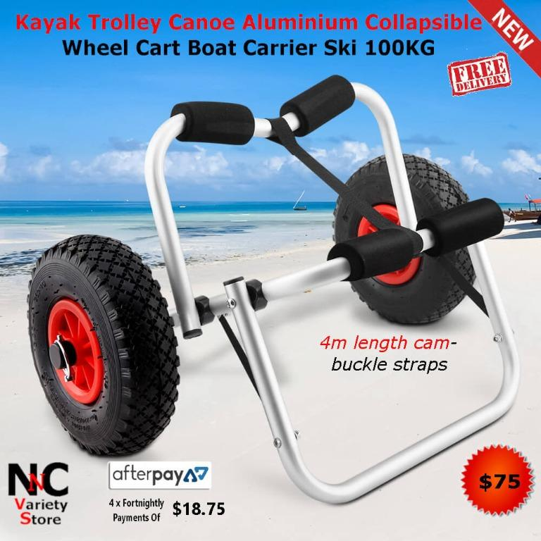 Kayak Trolley Canoe Aluminium Collapsible Wheel Cart Boat Carrier Ski 100KG