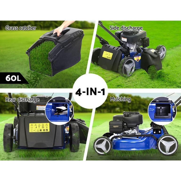 Lawn Mower 19″ 175cc Petrol Powered Push Lawnmower 4 Stroke 4-IN-1