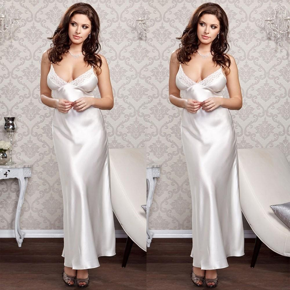 Lingerie silk long dress nightwear sleepwear