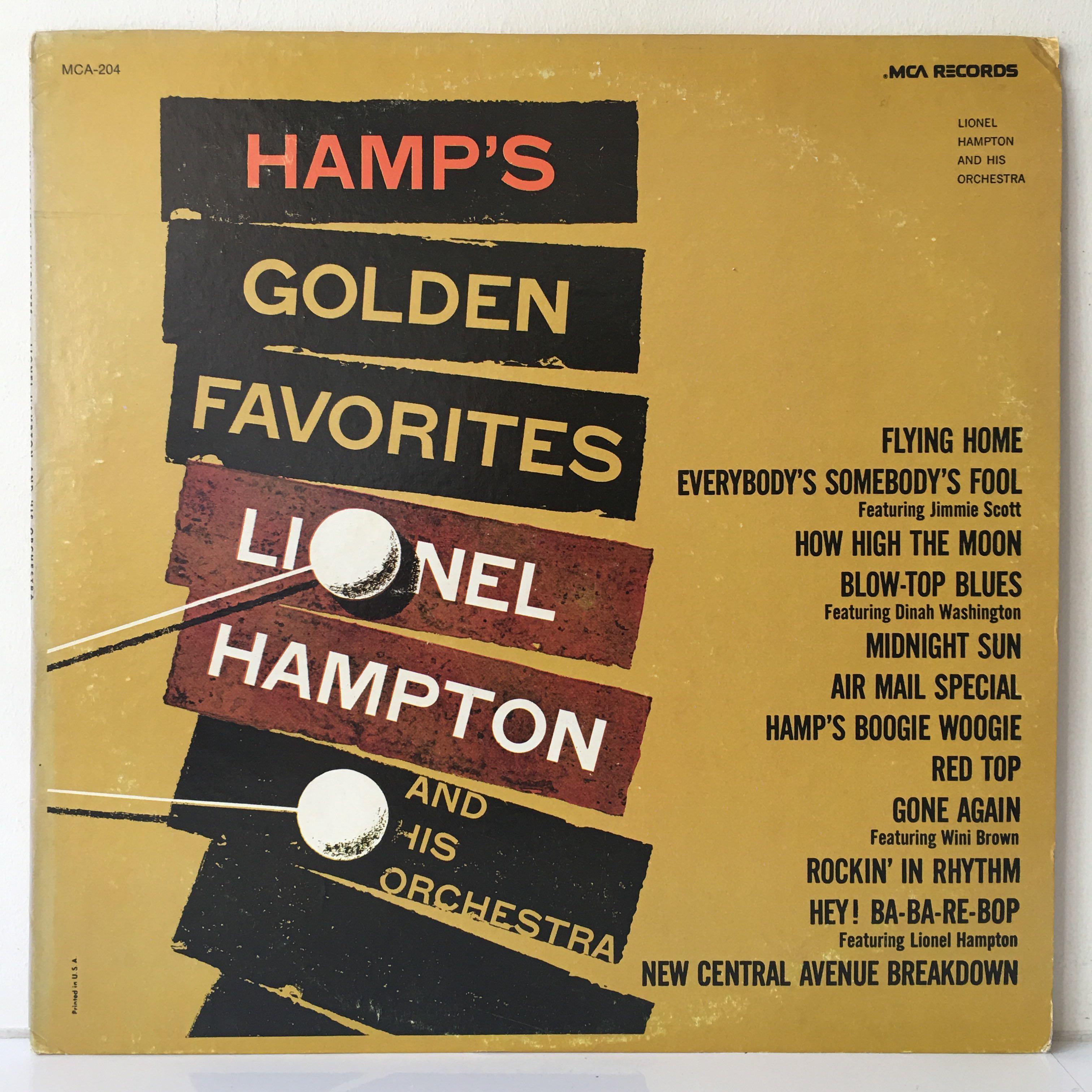 Lionel Hampton And His Orchestra – Hamp's Golden Favorites (1980 US Pressing - Vinyl is Excellent)