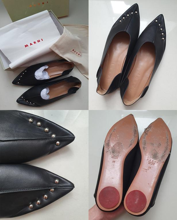 MARNI Collapsible-Back Studded Ballerina Shoes Slip On Flat Stud Heel