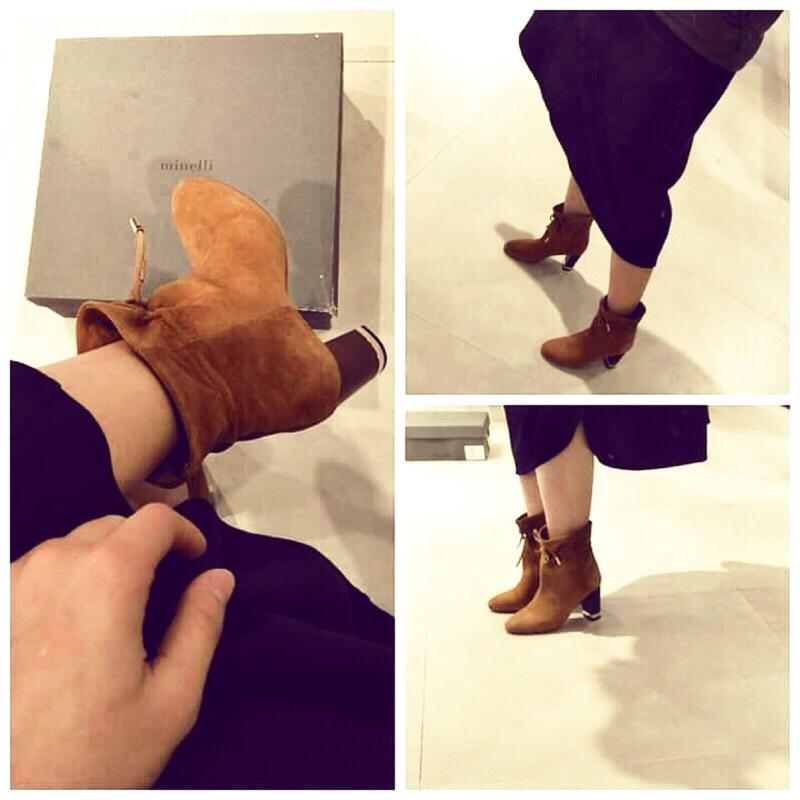 Minelli 正牌 絨布短靴子👢(原價7280便宜出售)