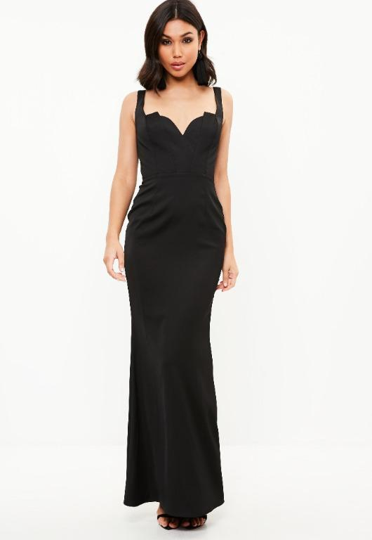 Missguided Black Satin Plunge Strappy Fishtail Dress