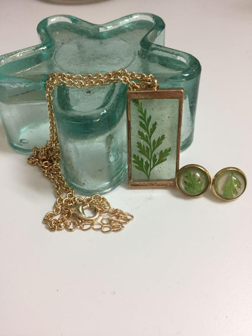 Nature jewellery - fern pendant, necklace and earrings set