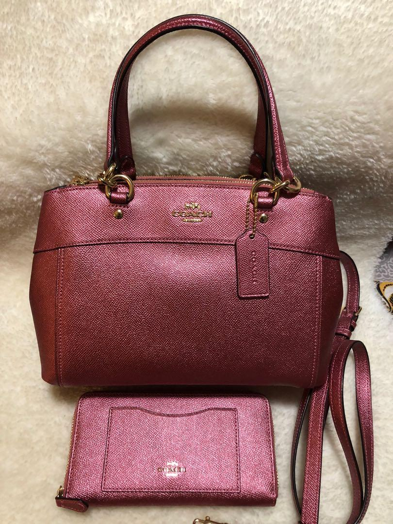NEW! COACH F25928 Mini Brooke Crossgrain Leather Carryall And Wallet Set