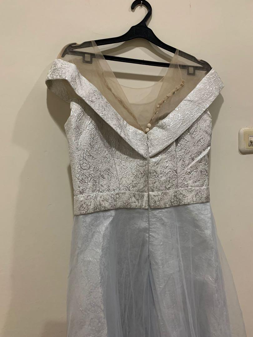 party dress silver premium jacquard