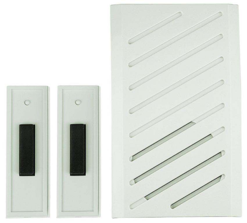 Plug-In Wireless Doorbell Chime with 2 Buttons (8 sound options)