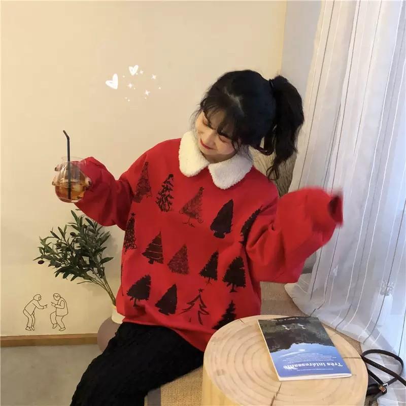 PO Christmas Tree Pattern Print Long Sleeve Wool Collar Sweater T-shirt Top Shirt Ulzzang