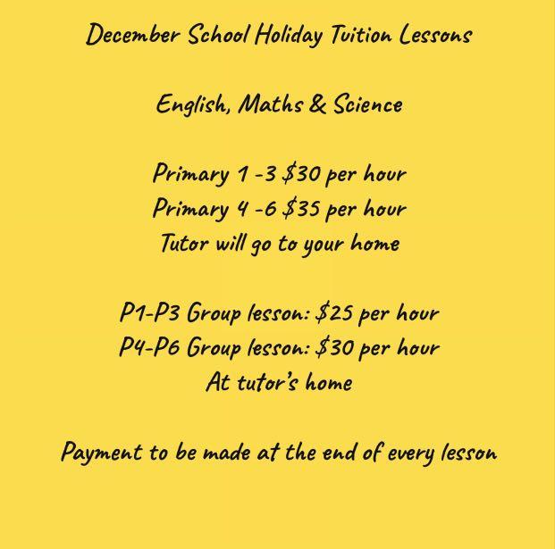 Primary 1-6 English Maths Science Home Tuition (Individual / Group)