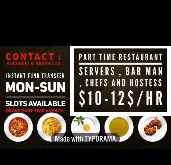 Restaurant job /part time job
