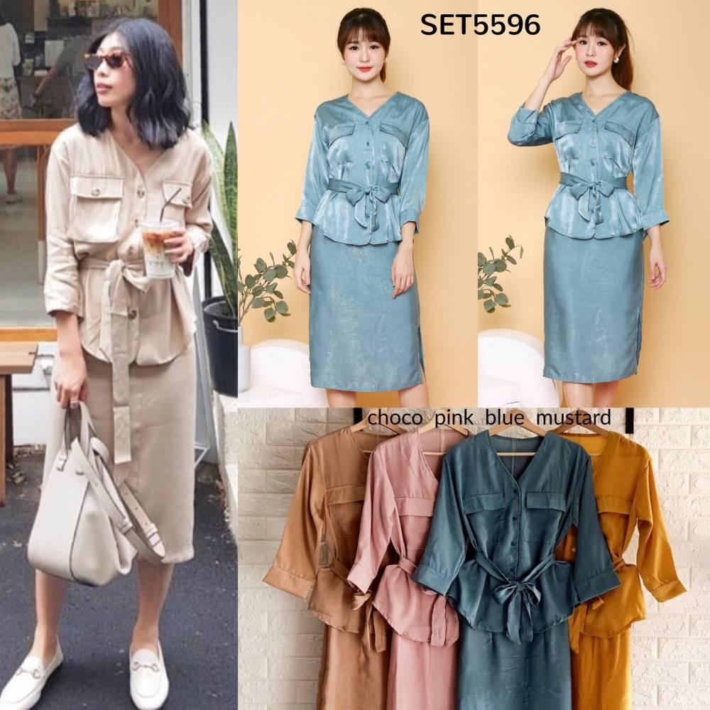 SET5596 Silky Set Belted Shirt & Skirt setelan baju kerja wanita setelan rok dan blouse kemeja ikat rok pendek span rok polos dan kemeja polos