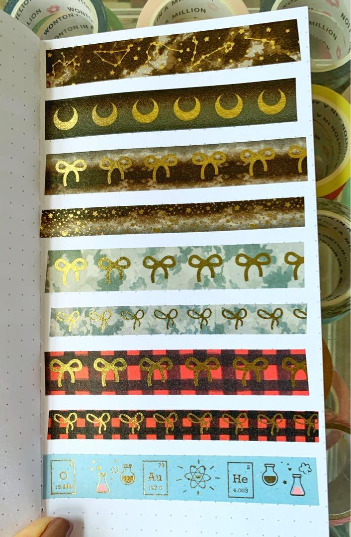 Simply Gilded CAMOUFLAGE + light gold foil bow Washi Sample #334