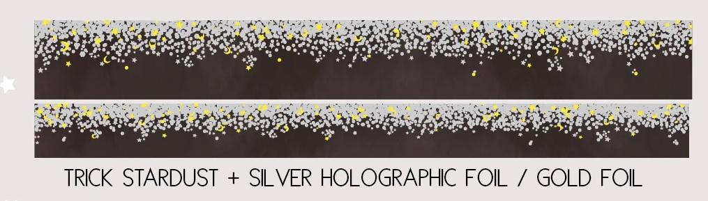Simply Gilded TRICK STARDUST + silver holographic/gold foil Washi Sample #332