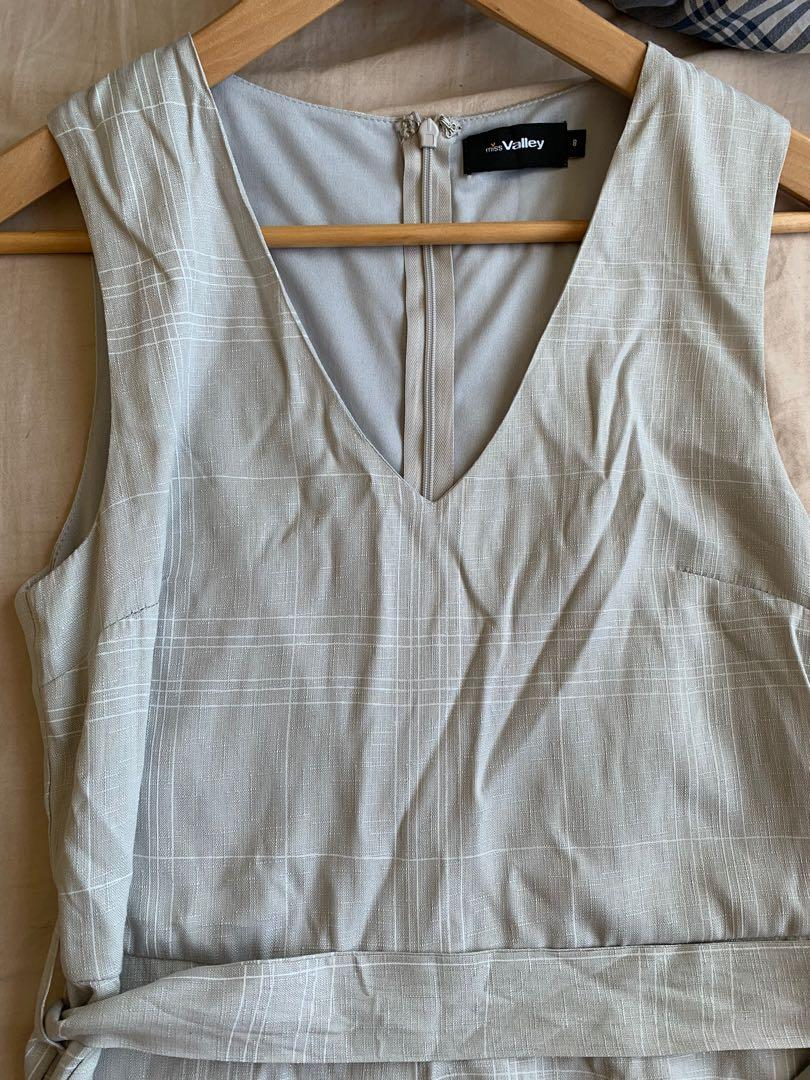 Size 8 Valleygirl jumpsuit, light grey and white striped