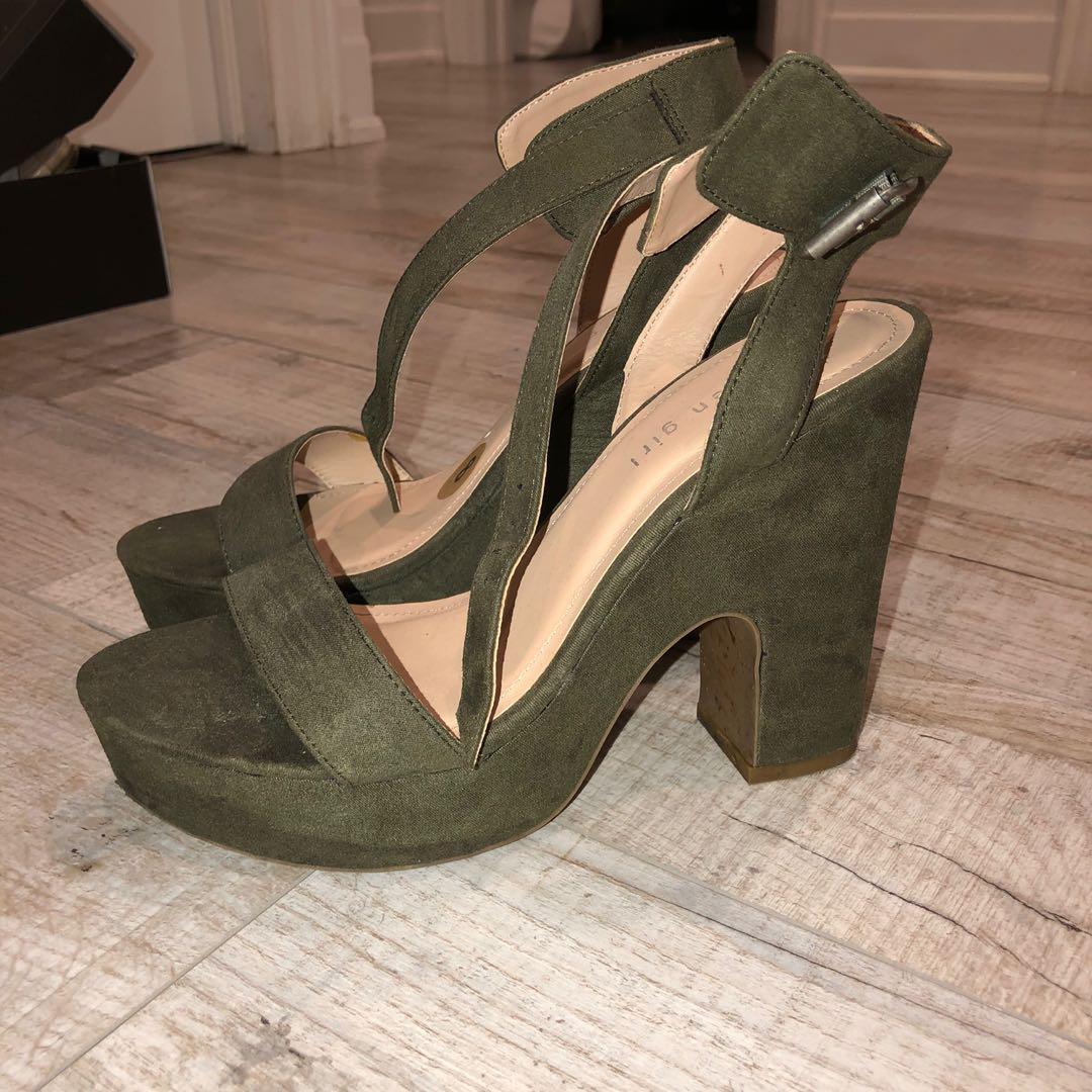 Steve Madden Military Green Platform Heels -Size 8
