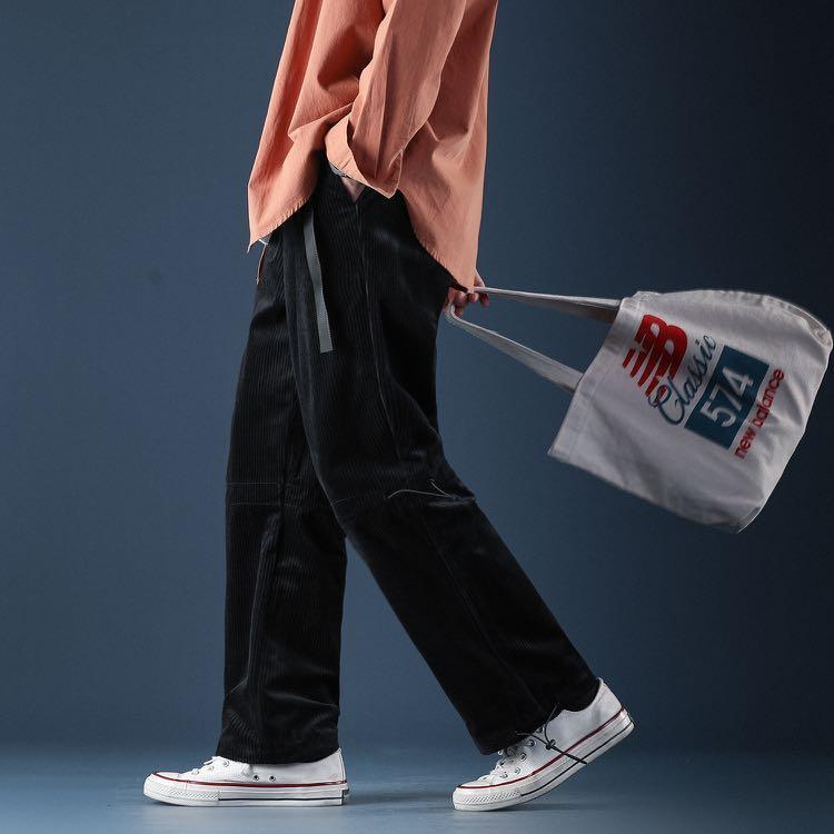 🇯🇵🇰🇷日韓系Streetwear直筒燈芯絨束腳褲