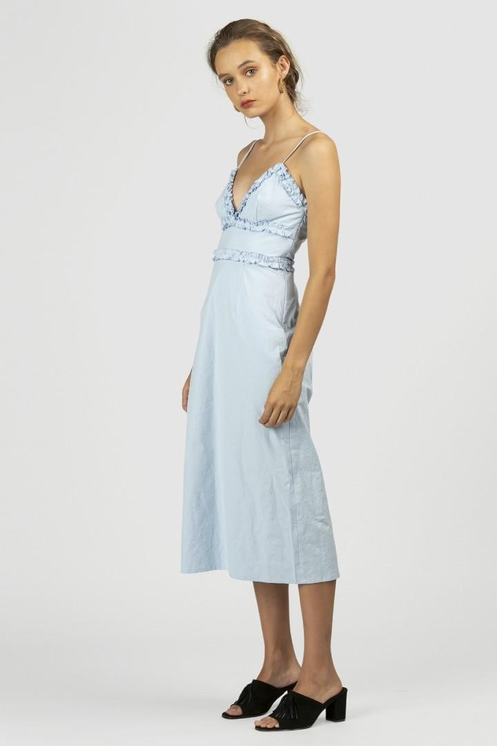 The Wolf Gang Deauville Ruffle Dress in Sky - Size S RRP $320