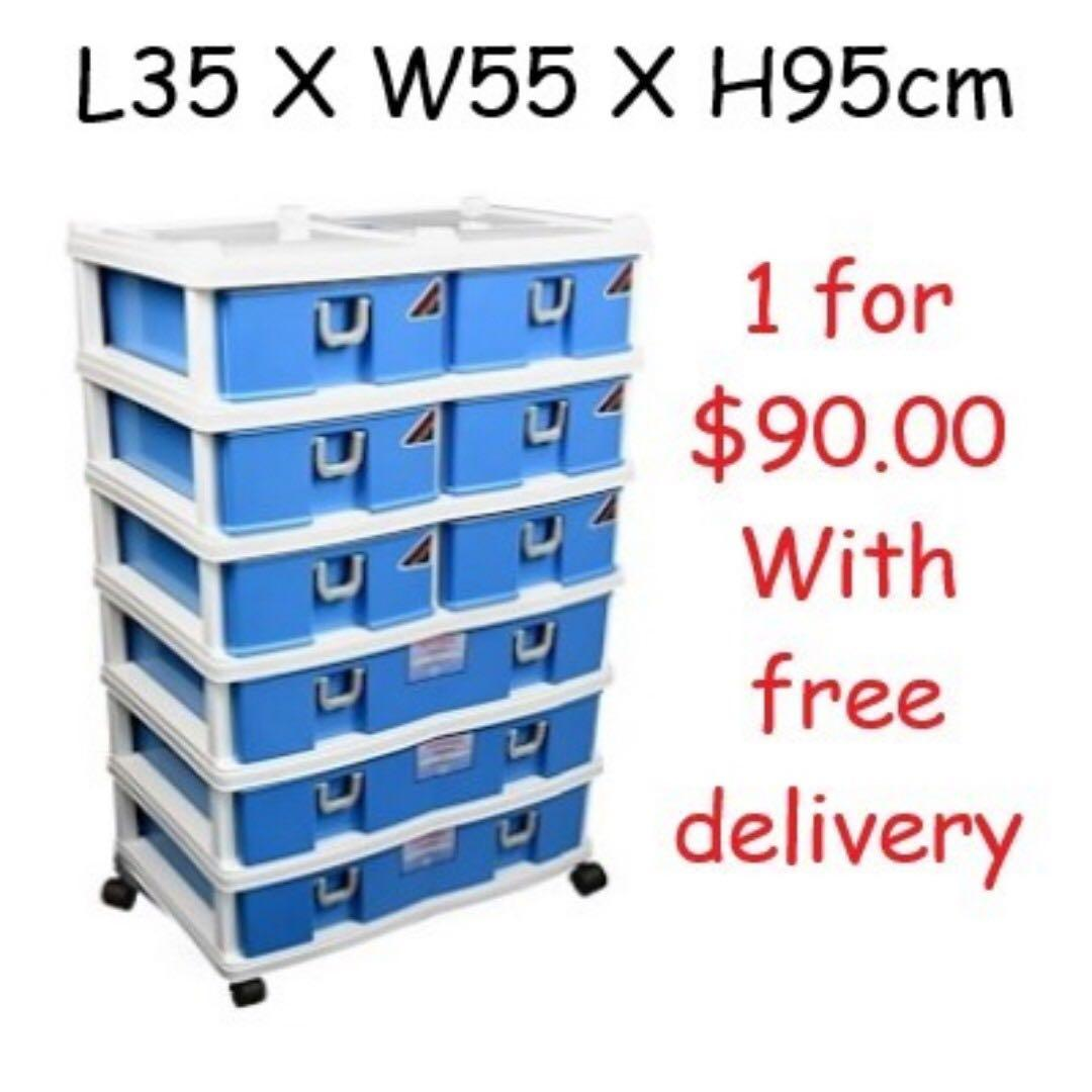 Toyogo 6-tier storage cabinet/drawer with wheels (9 drawers)