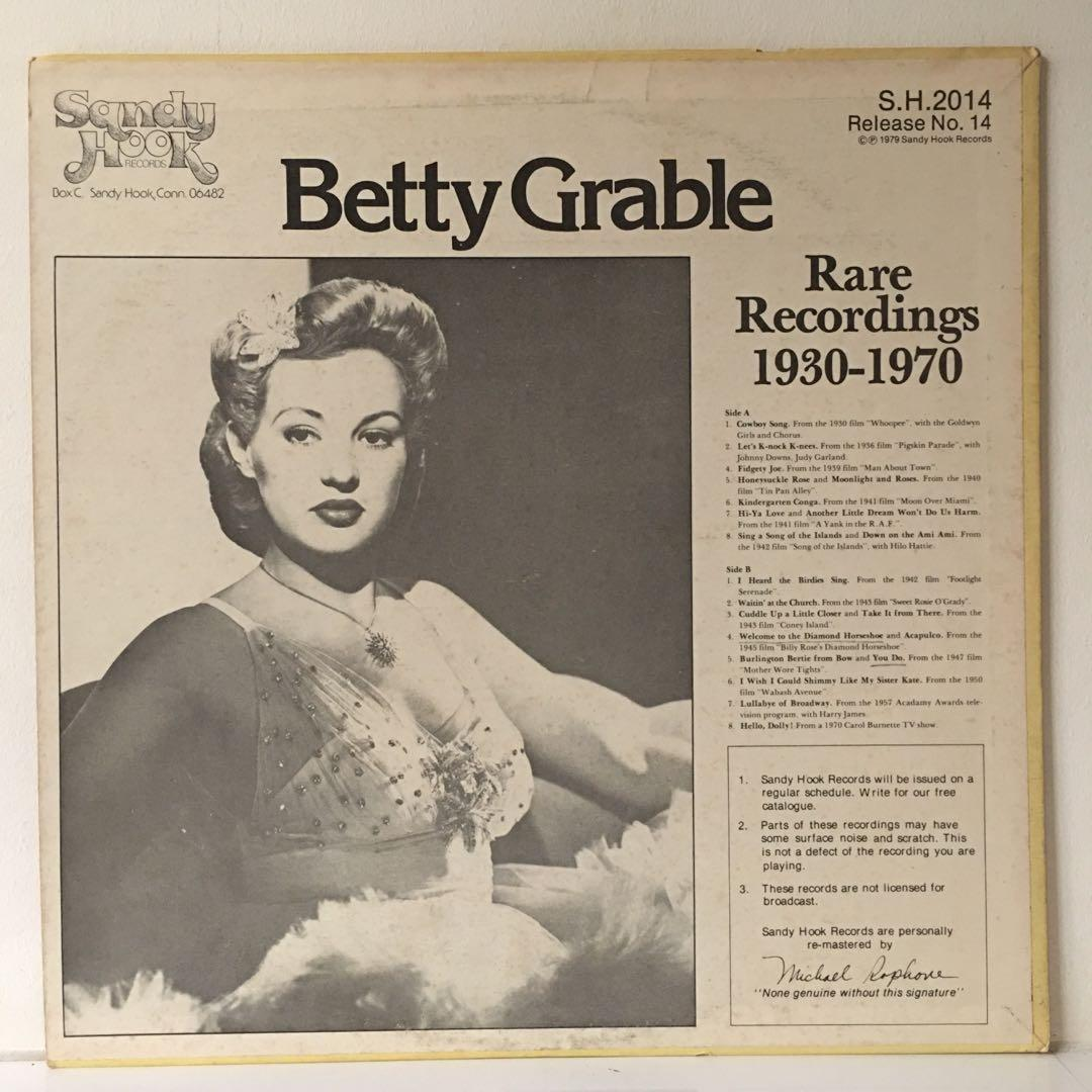 Betty Grable – Rare Recordings 1930-1970 (1979 US Pressing - Vinyl is Excellent)