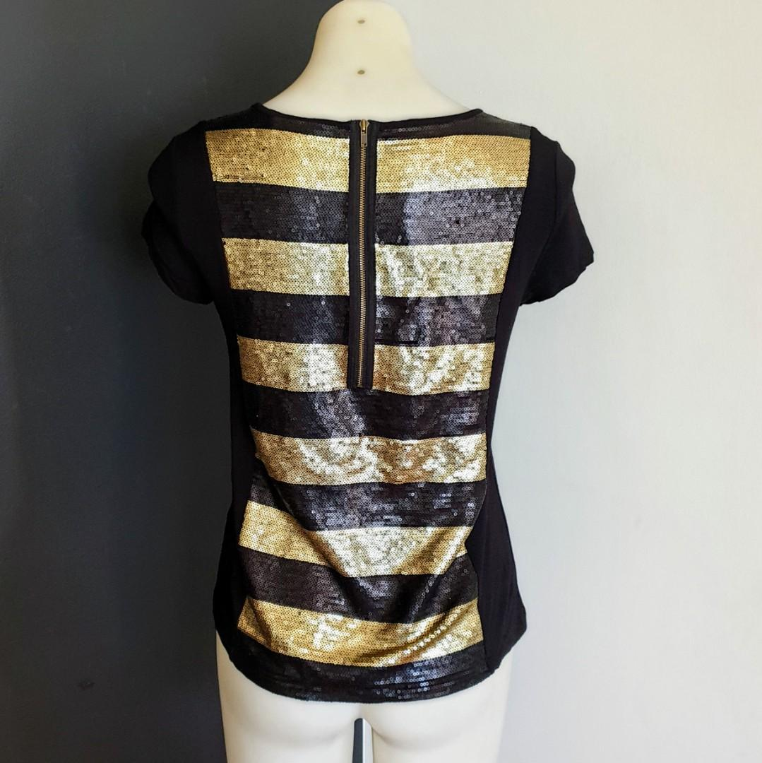 Women's size XS 'JAG' Gorgeous black and gold sequins top - AS NEW