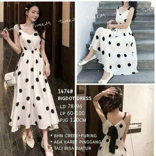 Ec bigdot dress hitam l atasan fashion baju dress polkadot wanita